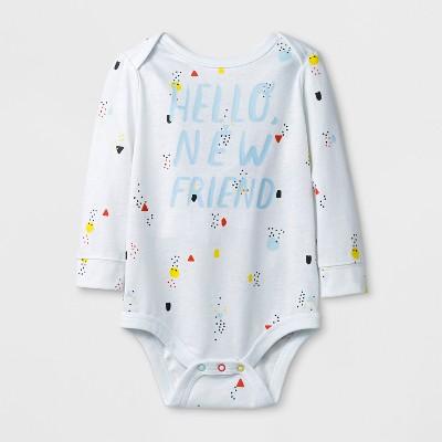 Baby Boys' 'HELLO NEW FRIEND' Long Sleeve Bodysuit - Cat & Jack™ White Newborn