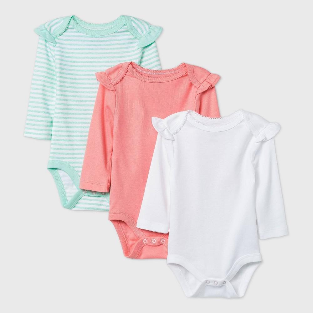 Baby Girls 39 3pk Long Sleeve Basic Bodysuit Cloud Island 8482 White Coral Green Newborn