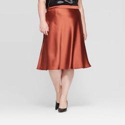Women's Plus Size Satin Midi Skirt - Ava & Viv™