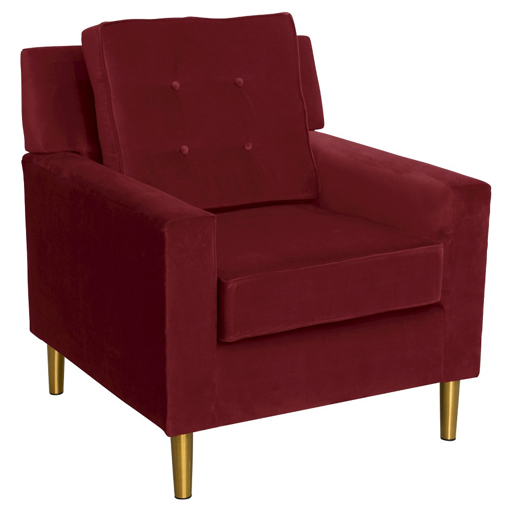 Best Price Parkview Chair With Metal Legs Velvet Berry Skyline Furniture Red