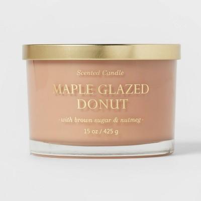 15oz Lidded Glass Jar Solid Brown 3-Wick Maple Glazed Donut Candle - Opalhouse™