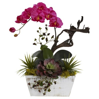 Orchid & Succulent Garden with White Wash Planter - Nearly Natural