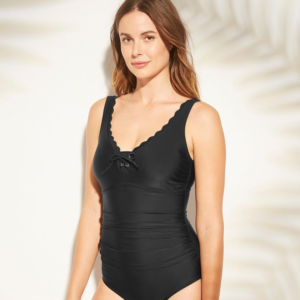 Women's Lace-Up Scallop One Piece Swimsuit - Kona Sol Black XL