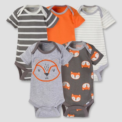 Baby Boys' 5pk Onesies® Bodysuit - Fox Gray 0-3M - Gerber®
