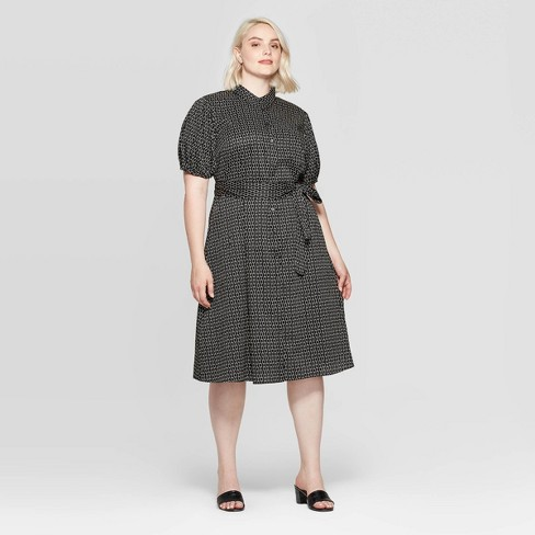 Women's Plus Size Elbow Sleeve Collared At Knee Dress - Who What Wear™ Black 3X - image 1 of 3