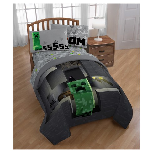 Minecraft Creeper Gray Comforter Twin Full Target