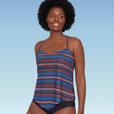 Women's Slimming Control Pointed Hem Tankini Top - Dreamsuit by Miracle Brands Foil Stripe