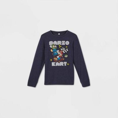 Boys' Nintendo Mario Kart Long Sleeve Graphic T-Shirt - Blue