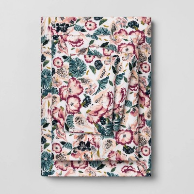 Queen Printed Pattern Easy Care Percale Cotton Sheet Set Floral - Opalhouse™