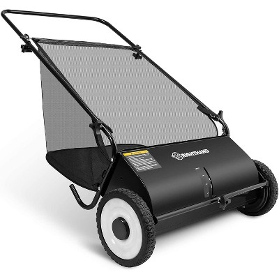 Right Hand 26-Inch Push Lawn Sweeper, Durable Steel Structure & Rubber Wheels Sweeps Leaf Grass & More, 7ft Mesh Collection Bag, 4 Spinning Brushes w/Height Adjustment, Built-in Kickstand