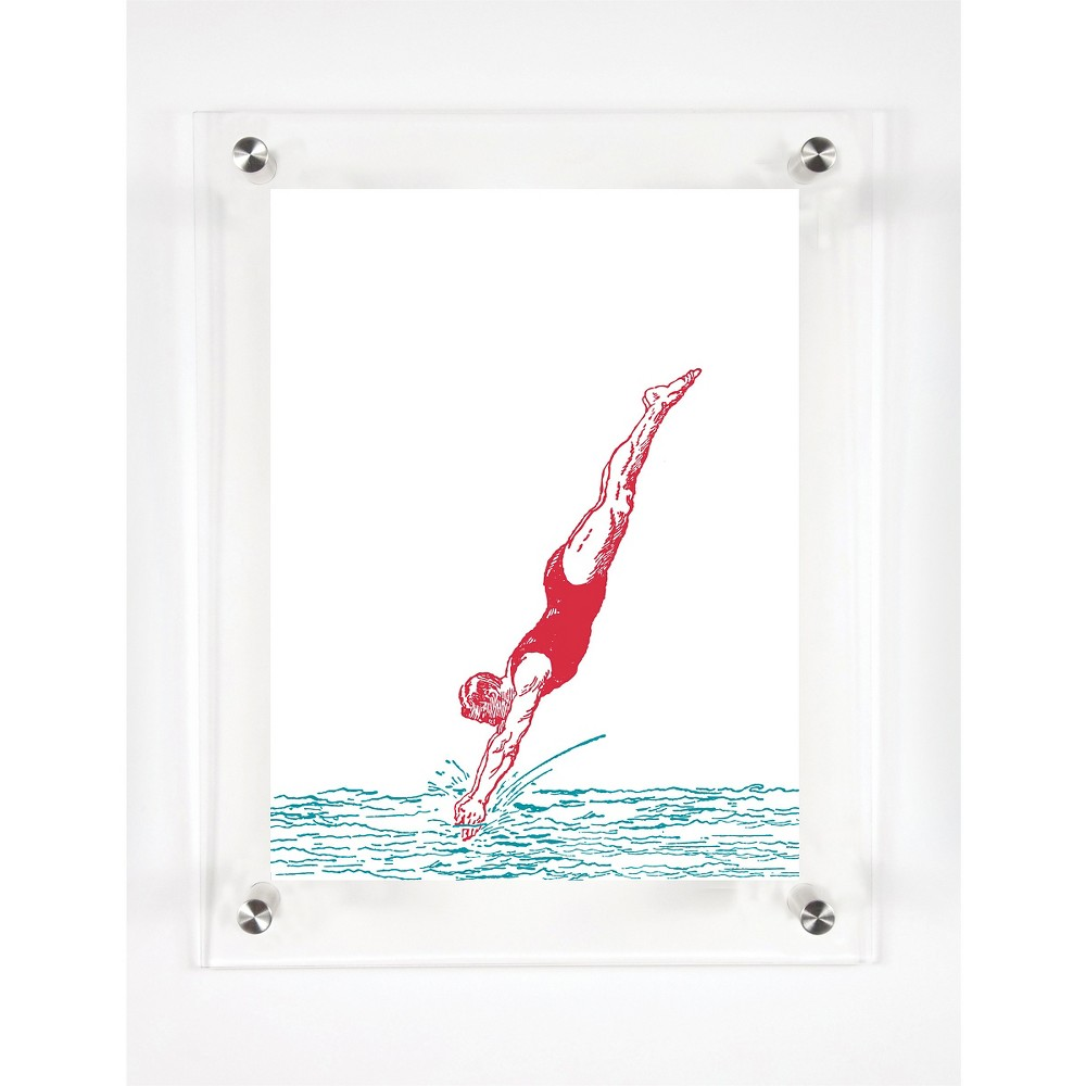 Mitchell Black Divers Dive Decorative Framed Wall Canvas Cranberry (12