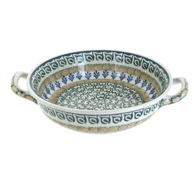 Blue Rose Polish Pottery Herb Garden Small Round Casserole with Handles