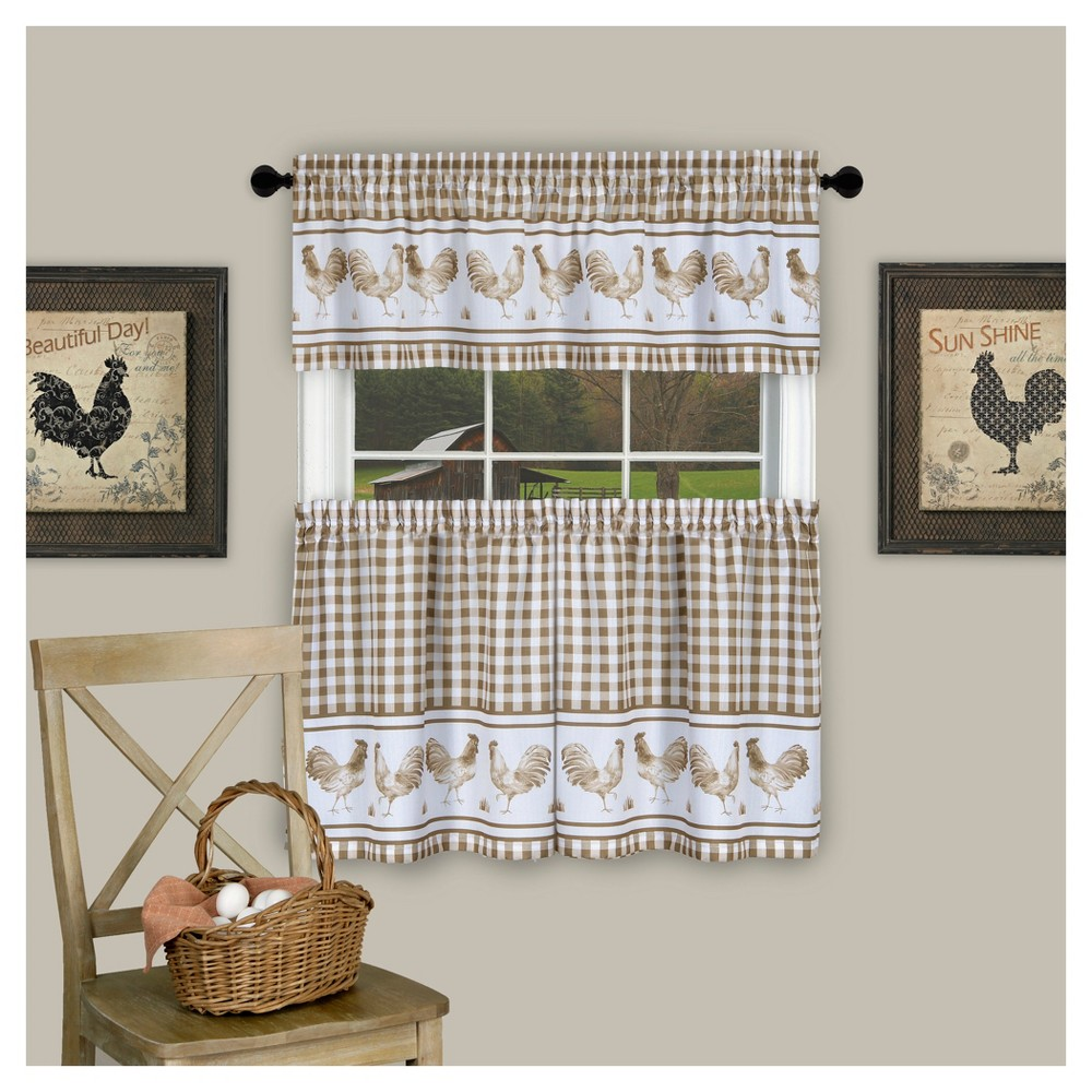 "Image of ""Barnyard Tier & Valance Set Taupe (58""""x24"""") - Achim, Brown"""