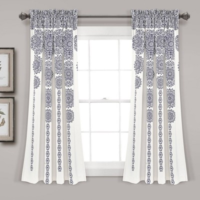 Set of 2 Striped Medallion Room Darkening Window Curtain Panels - Lush Décor