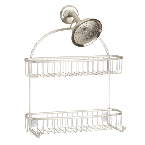 mDesign Hanging Shower Caddy Organizer with Hooks and Storage Basket for Showers