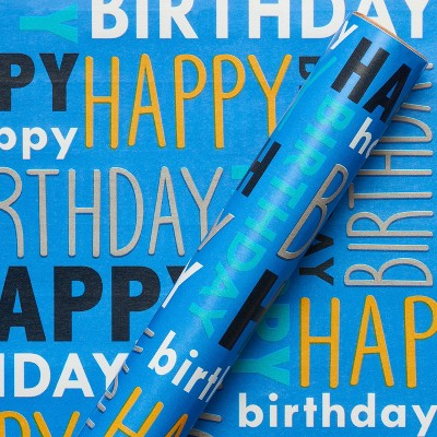 Happy Birthday Print Wrapping Paper Blue - Spritz™