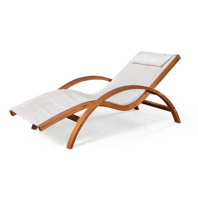Bentwood Breeze Luxury Lounger with Wood Frame - Blue Wave