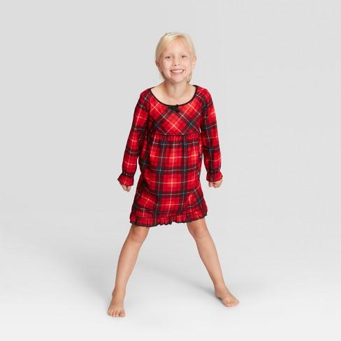 54e06f177 Girls  Plaid Holiday Notch Collar Pajama Nightgown - Wondershop™ Red ...