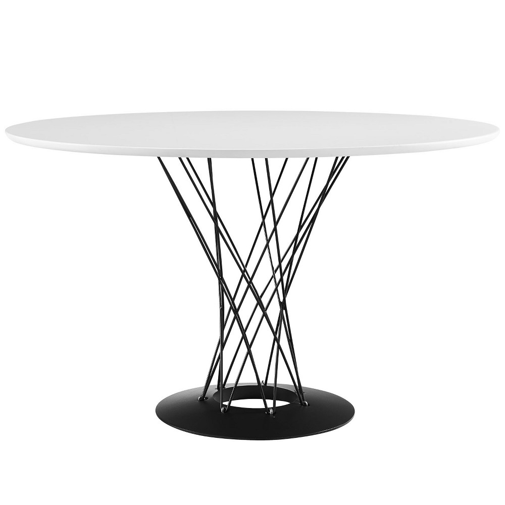 Cyclone Round Wood Top Dining Table White - Modway