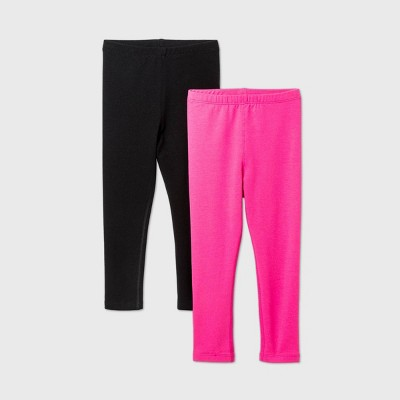 Toddler Girls' 2pk Adaptive Leggings - Cat & Jack™ Black/Pink