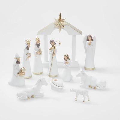 12pc Nativity Set White with Gold Accent - Wondershop™