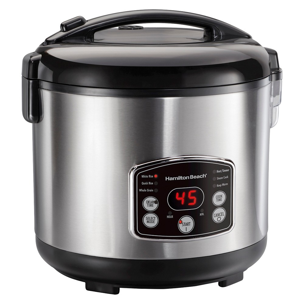 Image of Hamilton Beach Digital Simplicity 20 Cup Rice Cooker and Steamer - Stainless 37541, Silver