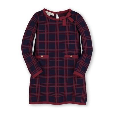 Hope & Henry Girls' Long Sleeve Bow Detail Sweater Dress, Infant