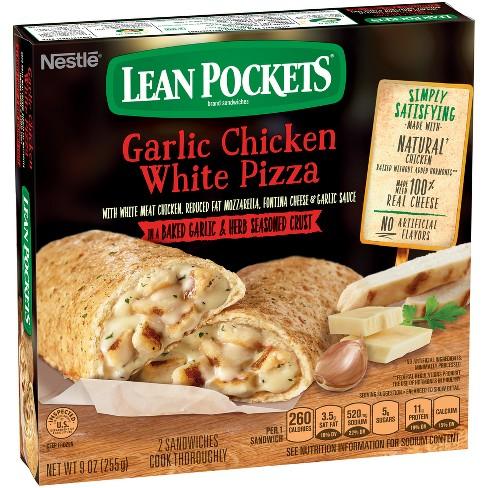 Lean Pockets Culinary Creations Garlic Chicken White Pizza Frozen Stuffed Sandwiches - 8.5oz/2ct : Target