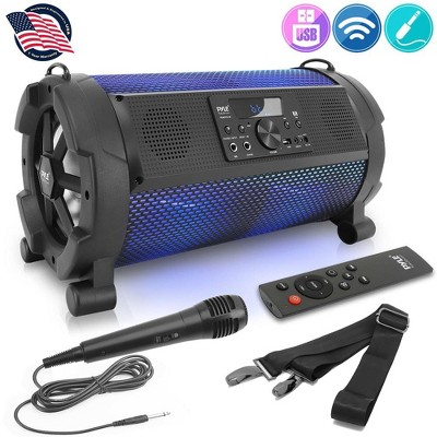 Pyle PBMSPG180 500 Watt Portable Bluetooth Wireless Indoor/Outdoor BoomBox Speakers Stereo with LED Lights, LCD Display Screen, Microphone, Black