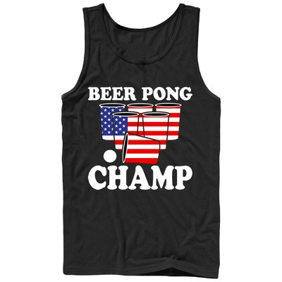 Men's Lost Gods Fourth of July  Pong American Flag Cup Tank Top