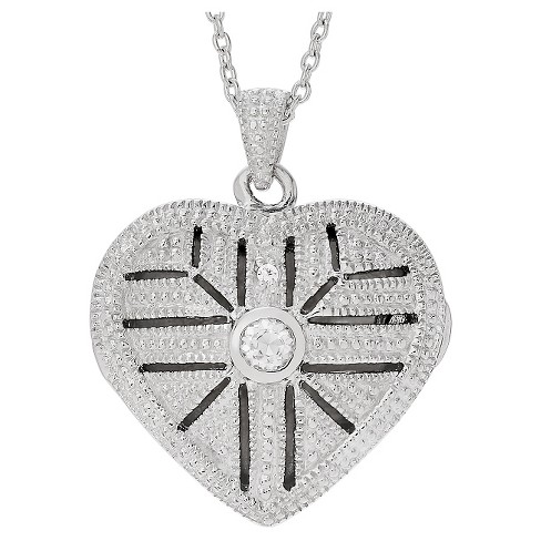 "0.06 CT. T.W. Round-cut CZ Bezel Set Heart Locket Pendant Necklace in Sterling Silver - Silver (16"") - image 1 of 3"