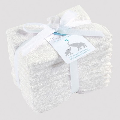 Hudson Baby 10pk Washcloth Set - White 0-24M