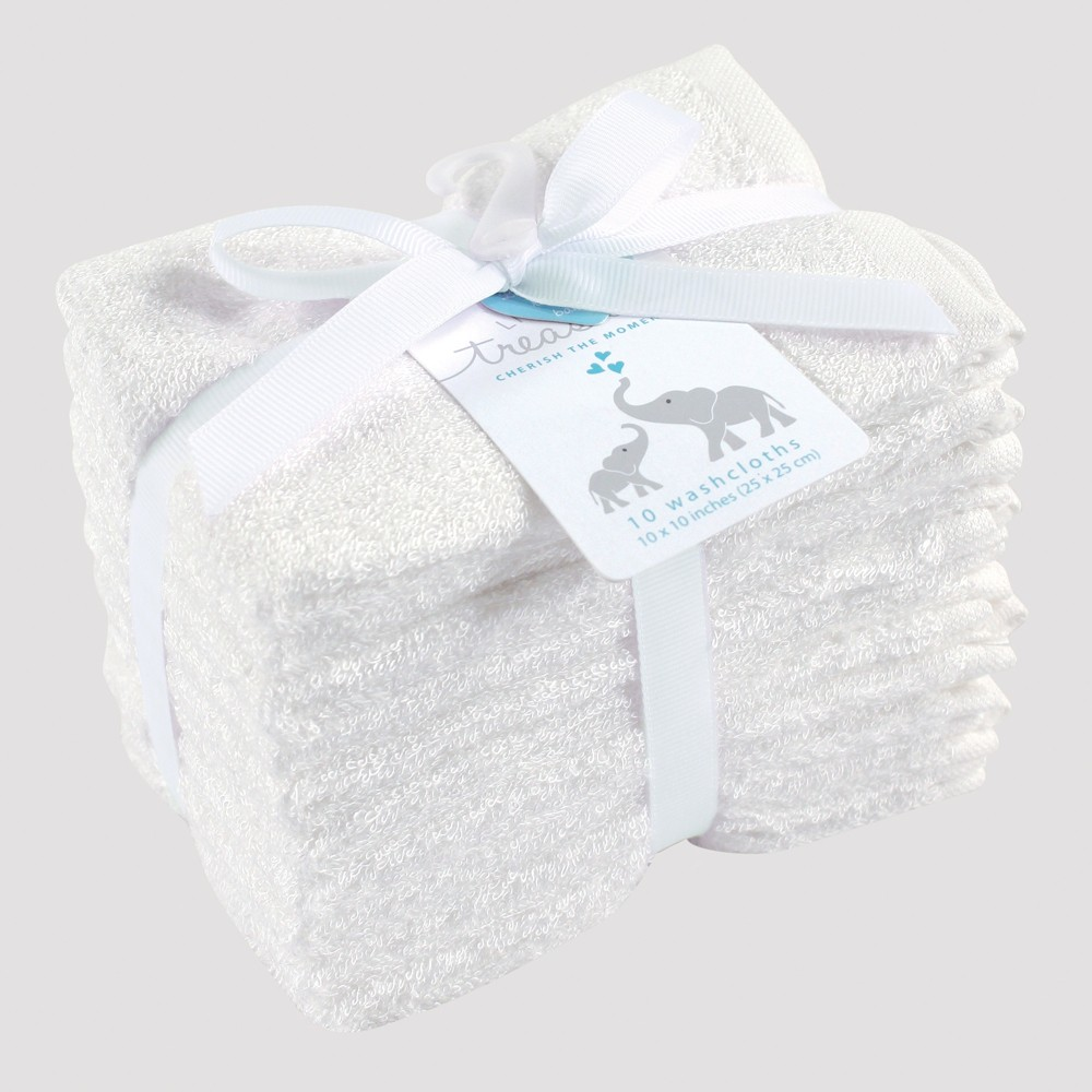Image of Hudson Baby 10pk Washcloth Set - White 0-24M