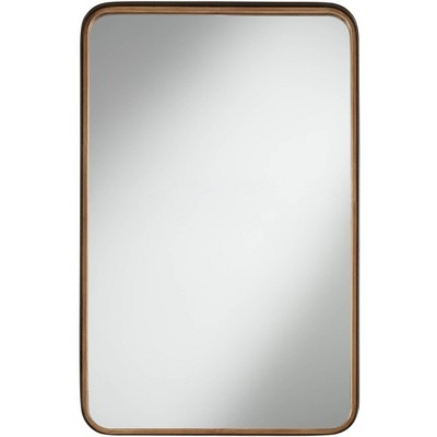 "Uttermost Gold Black 24"" x 38"" Rounded Edge Wall Mirror"