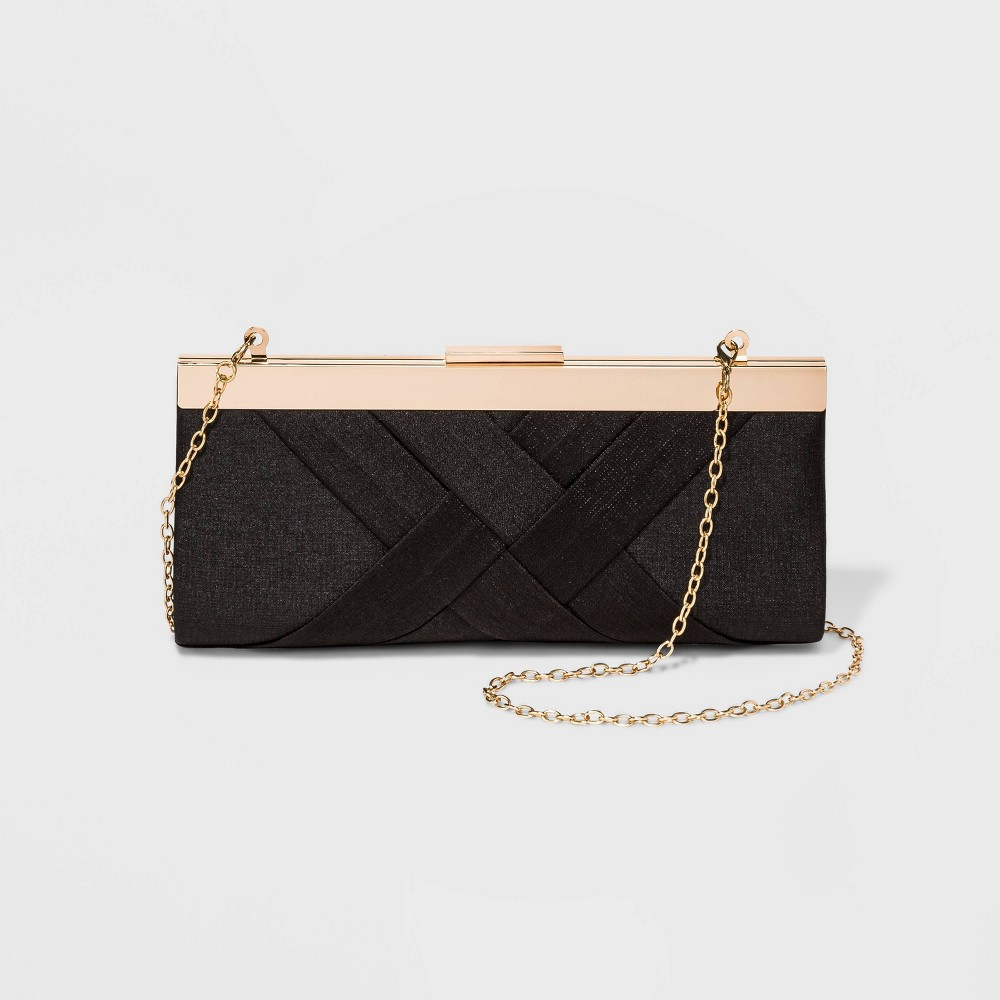Image of Estee & Lilly Crisscross Textured Satin Frame Clutch - Black, Women's
