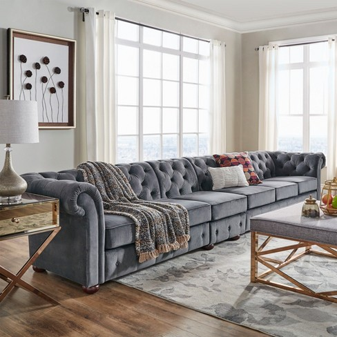Inspire Q 6 Seats Beekman Place On Tufted Chesterfield Velvet Extra Long Sofa Target