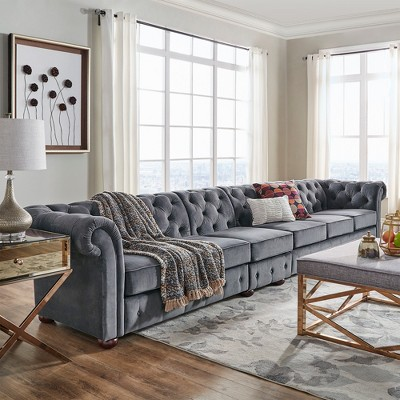 Beautiful Inspire Q 6 Seats Beekman Place Button Tufted Chesterfield Velvet Extra  Long Sofa : Target