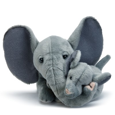 DEMDACO Elephant Mom & Baby 12 inches - Grey