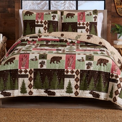 Great Bay Home Rustic Lodge Printed Reversible Quilt Set