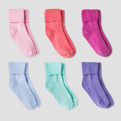 Toddler Girls' Tuff Cuff Socks 6pk - Cat & Jack™ Blue/Pink