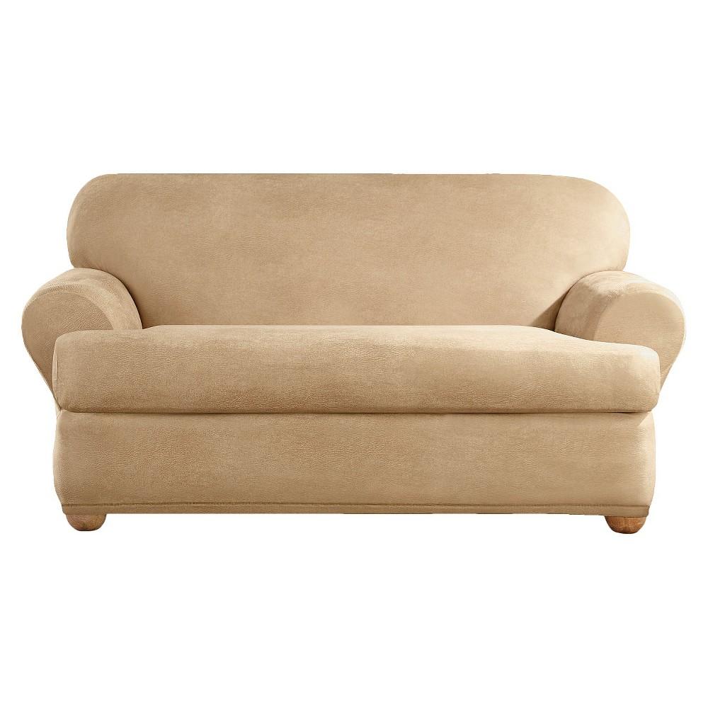 Pleasant 2Pk Camel Stretch Leather Loveseat Slipcover Sure Fit Creativecarmelina Interior Chair Design Creativecarmelinacom