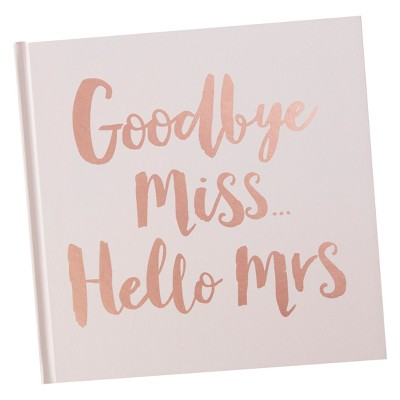 Ginger Ray Rose Gold Foiled Goodbye Miss Hello Mrs. Advice Book Team Bride