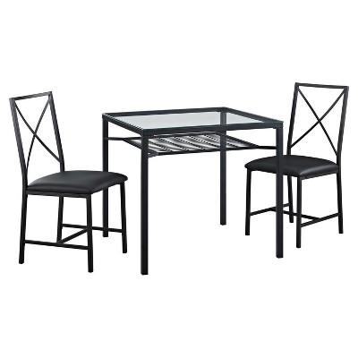 3pc Metal and Glass Dining Set Black - Dorel Living