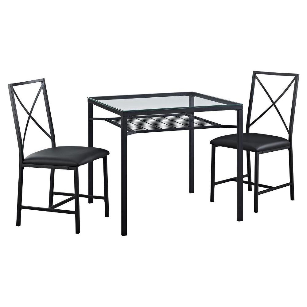 Image of 3 Piece Metal and Glass Dinette Set - Black - Dorel Living
