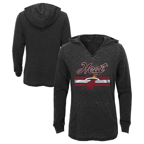 best service 5e81f e03d8 NBA Miami Heat Girls  Top of the Key Gray Burnout Hoodie