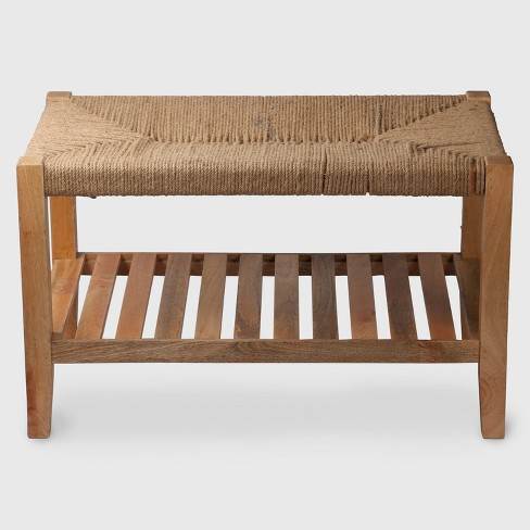 Wood and Jute Rope Bench - Threshold™ - image 1 of 2