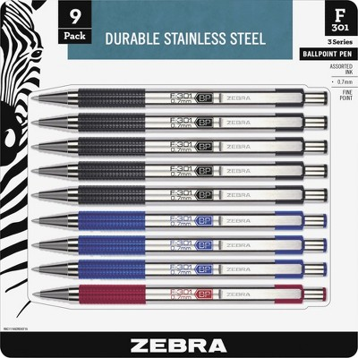 Zebra Ballpoint Pen Retractable Refillable 0.7mm 9/PK Black Ink 11169