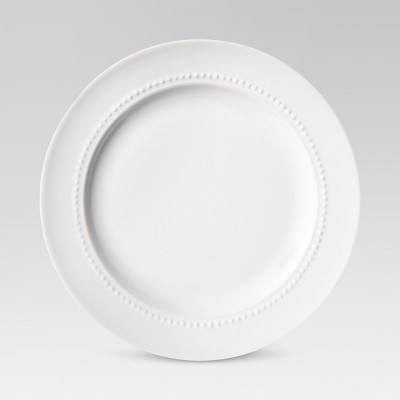"8.3"" Porcelain Beaded Rim Salad Plate White - Threshold™"