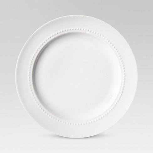 "8.3"" Porcelain Beaded Salad Plate White - Threshold™ - image 1 of 4"