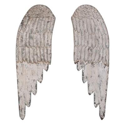 Wooden Angel Wings Wall Art White 2pc - 3R Studios